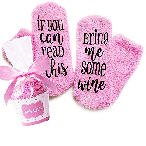 Valentines Day Gifts Wine Socks With Funny Words If You Can Read This,Cupcake Gift Packaging,Valentine's Day,Mother's Day,Christmas Day,Birthday,Anniversary,Gifts for Women,Mom,Her,Wife (Pink)