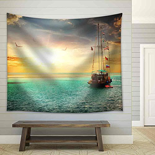 Beautiful Sunset Over Yacht in The Sea Fabric Wall