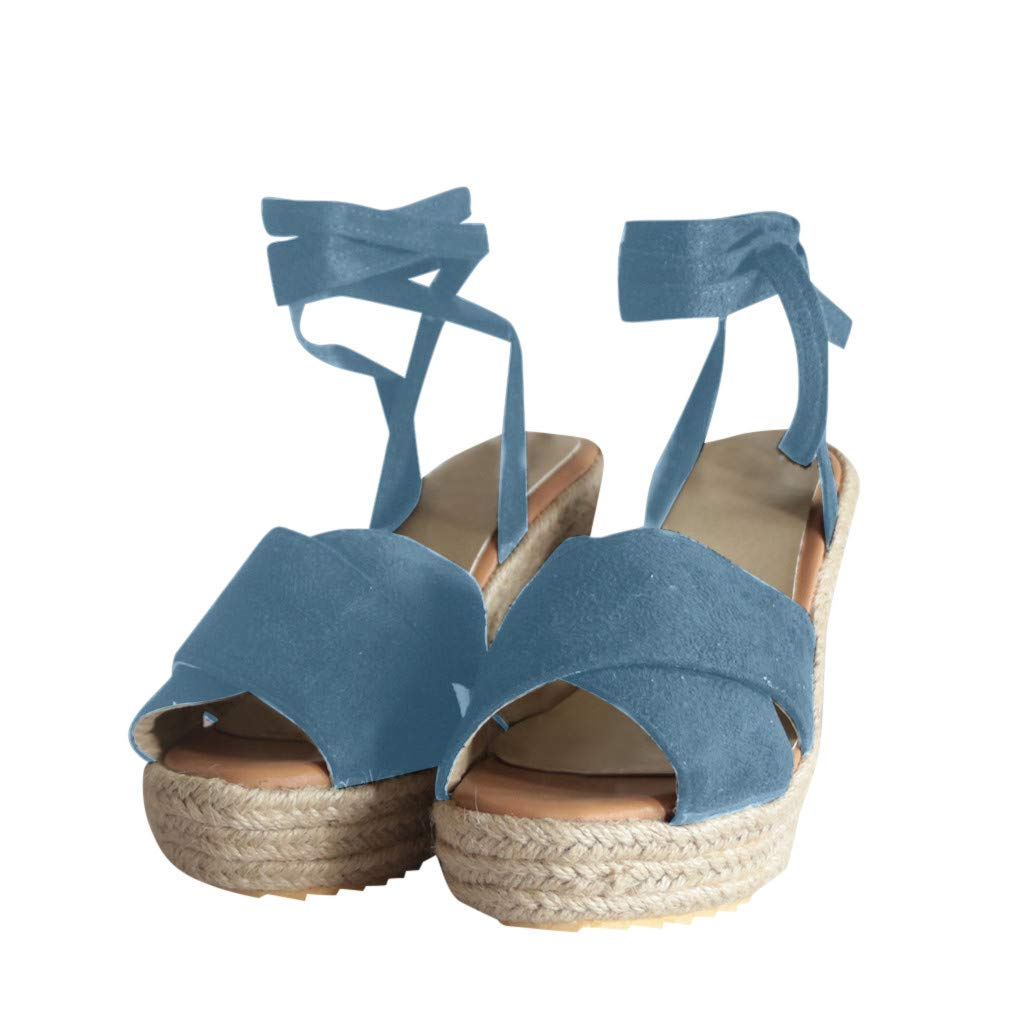 LUCAMORE Womens Lace Up Platform Wedge Espadrille Heel Open Toe Slingback Sandals by LUCA-Sandals (Image #3)