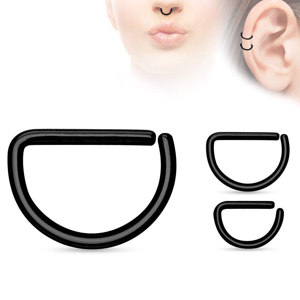 rini/_mc2 1 Pair Black D Titanium IP Helix Tragus Snug Helix Daith Nose Septum Annealed Rings 18G 10mm