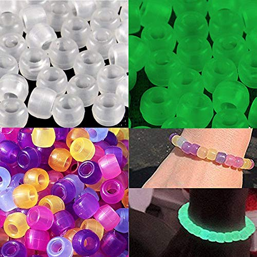 JPSOR 500 Pcs Uv Beads Multi Color Changing Reactive Plastic Beads - Also Glows in the Dark (Glows in the Dark) ()
