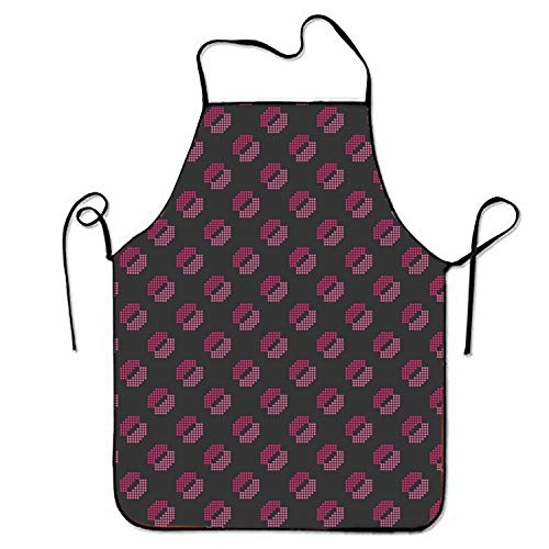 dvdaawk Pink Spotted Lip Sweetheart Chef Kitchen Apron Chef Stitched Edges