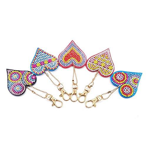 Mosaic Making Kits, 5pcs/Set DIY Full Drill Diamond Painting Love Heart Keychain Key Ring Gift