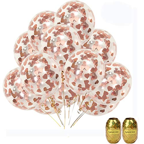 UTOPP 20 Pack Rose Gold Confetti Balloons Party Decorations, 12 Foil Heart Shape Confetti Balloons Wedding Proposal Engagement Baby Shower Birthday Party Supplies Gold Tassels