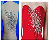 Pure hand made dazzling clear AB colour sew on Rhinestones applique crystals trim patches 28X16cm dress accessory for belt