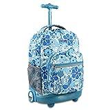 J World New York Kids' Everyday Rolling Backpack, Blue Vine, 18'