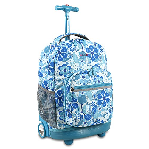 J World New York Girls' Sunrise Rolling Backpack Fashion, Blue Vine, One Size]()