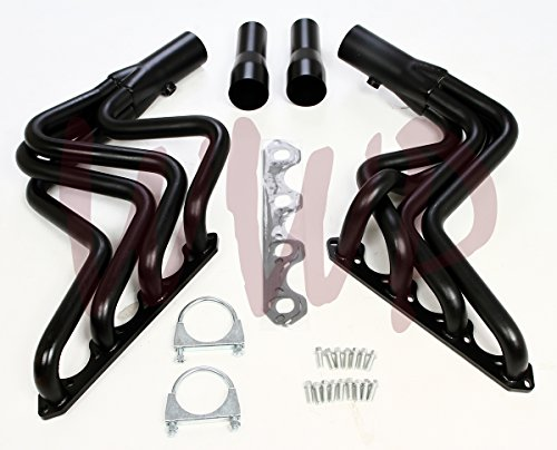 Black Coated Performance Exhaust Header Manifold System Kit For 80-96 Ford F150 F250 5.0L V8 Pickup Truck 2WD & 4WD
