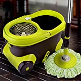 360° Floor Spin Mop Bucket with Stainless Steel Spinner and Microfiber Rotating Dry Heads with 2 Heads