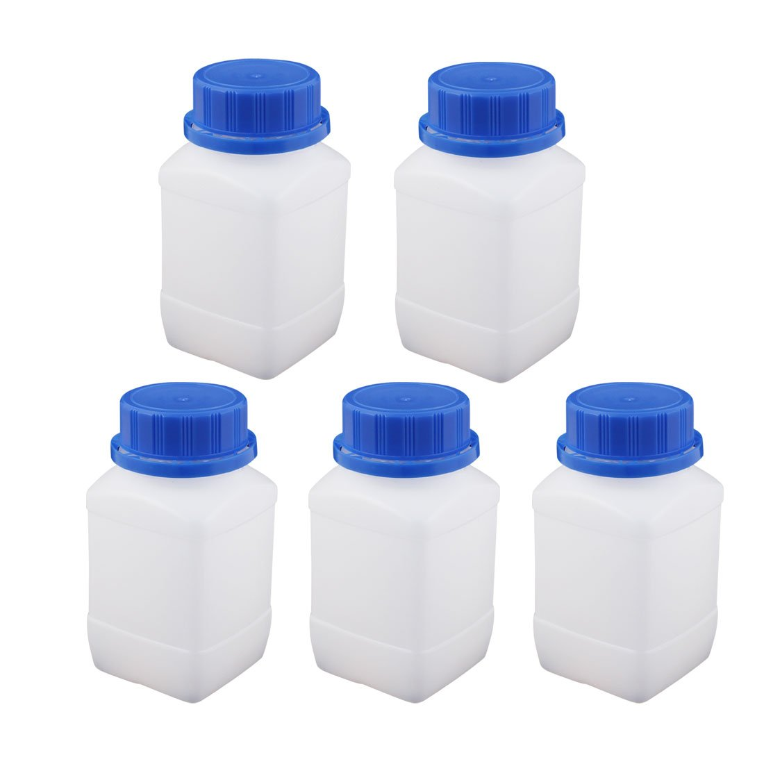 uxcell 5Pcs 250ml Plastic Square Wide Mouth Chemical Sample Reagent Bottle Thickening
