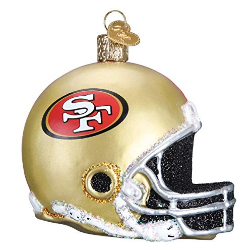 49ers Christmas Ornaments (Personalized San Francisco 49ers Helmet Glass Blown Christmas Ornament for Tree by Old World)