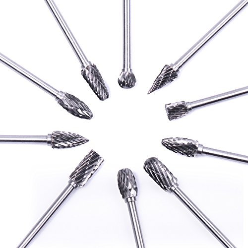 Atoplee 10pcs 1/8 Shank Tungsten Steel Solid Carbide Rotary Files Diamond Burrs Set Fits Rotary Tool for Woodworking Drilling Carving Engraving by ATOPLEE (Image #2)