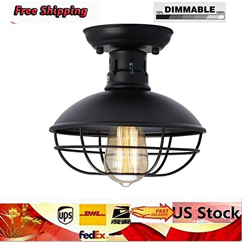 (Pendant Lights, E26 Industrial Metal Cage Ceiling Light Rustic Dome Bowl Shaped Lamp Fixture Mini Semi Flush Mounted Pendant Lighting for Country Hallway Kitchen Garage Porch Bathroom,US Stock)