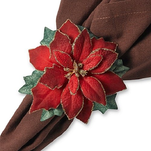 Poinsettia Napkin - Red Poinsettia Napkin Rings -Set of 4