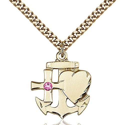 Gold Filled Faith Hope & Charity Pendant with 3mm October Rose Swarovski Crystal 7/8 x 3/4 inches with Heavy Curb Chain by Bonyak Jewelry Saint Medal Collection