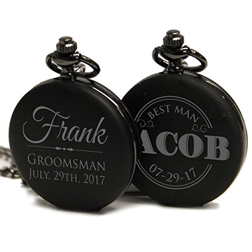 Black Quartz Pocket Watch - Engraved Monogrammed Quartz Black Pocket Watch - Custom Personalized Groomsmen Wedding Gifts - MPM Styles