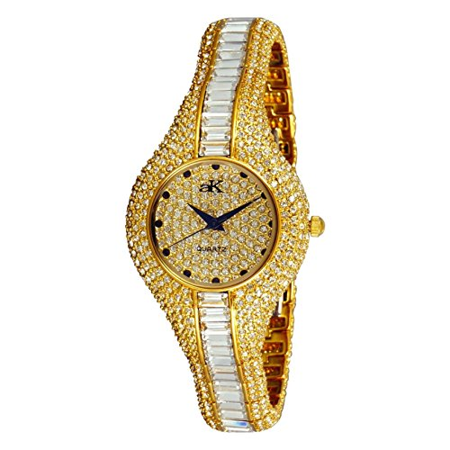 Adee Kaye Women's Corona Royal 31.2mm Two Tone Ceramic Band & Case Quartz Gold-Tone Dial Watch AK9-68LG