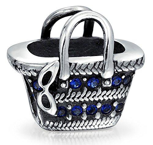Beach Picnic Basket Sunglasses Blue Cubic Zirconia Vacation Travel Charm Bead 925 Sterling Silver For European Bracelet
