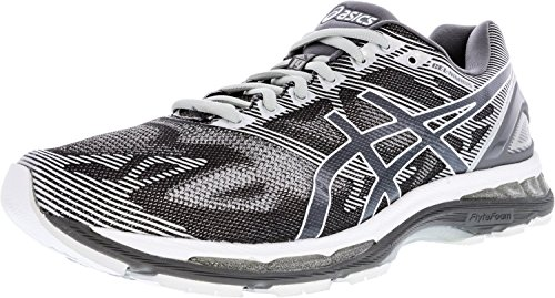 ASICS Men's Gel-Nimbus 19 Running Shoe, Carbon/White/Silver, 10 2E US