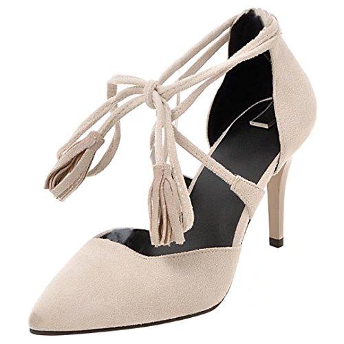 AIYOUMEI Spitz Pumps mit Knöchelriemchen und Quaste Stiletto High Heels Elegant Schuhe Damen Beige