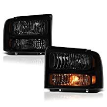VIPMotoZ 2005-2007 Ford F-250 F-350 F-450 F-550 Superduty Headlights - Matte Black Housing, Smoke Lens, Driver and Passenger Side