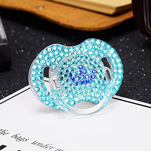 MIYOCAR bling bling blue crystal rhinestone prince crown Baby Pacifier/ Nipples /Dummy /cocka /chupeta baby gift babyshower