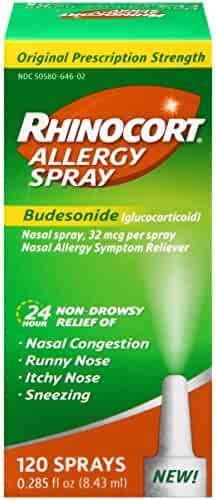 Rhinocort Allergy Nasal Spray, 24 Hour Relief, 120 Spray ( Pack May Vary )