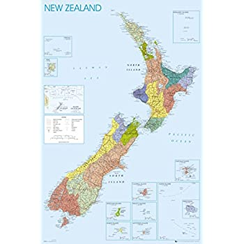 Amazon 24x36 new zealand map poster print new zeland map 24x36 new zealand map poster print gumiabroncs Images