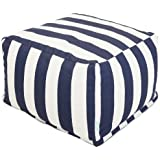 Majestic Home Goods Vertical Stripe Ottoman, Large, Navy Blue