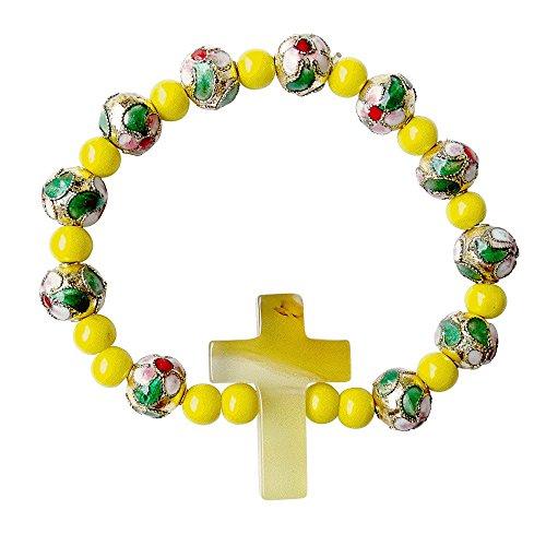 Handmade Flower Pattern Bracelet with Alternating Cloisonne and Yellow Jasper Beads with Tan Quartz Cross Centerpiece