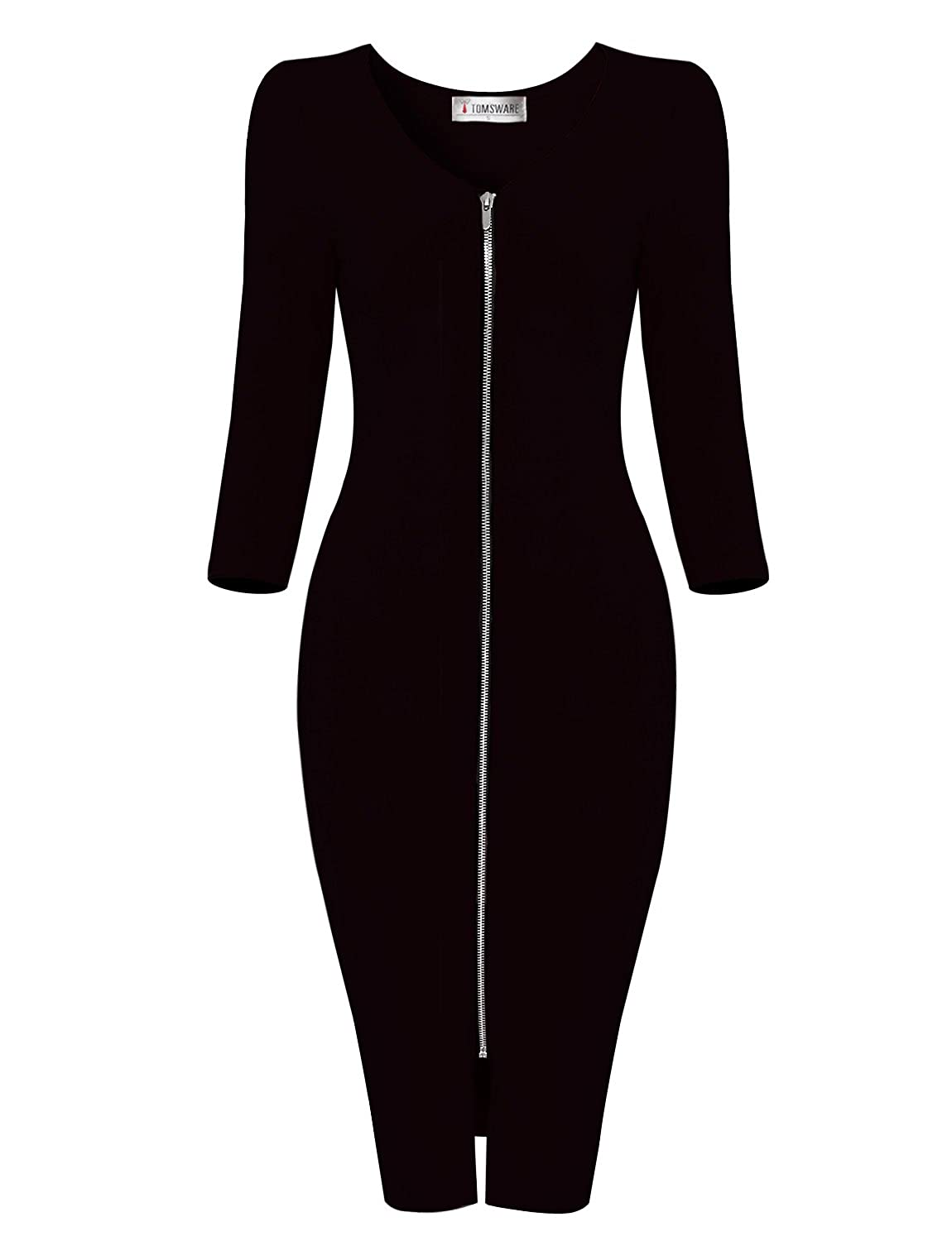 Black TAM WARE Womens Sophisticated Front Zip 3 4 Sleeve Bodycon Midi Dress
