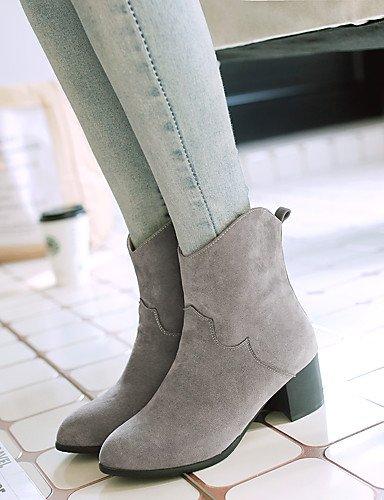 XZZ  Damen-Stiefel-Büro   Lässig     Kleid-Kunstleder-Blockabsatz-Absätze   Stifelette   Rundeschuh-Schwarz   Gelb   Grau 779279