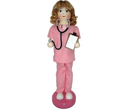 Batas enfermera en color rosa de madera Navidad cascanueces 14 Inch Enfermería decoración nuevo