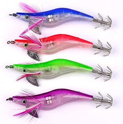 5Pcs Lighted Calamari Jig Squid Sinking Duel Lure EGI Squid Bait Jig Hooks 2.5#