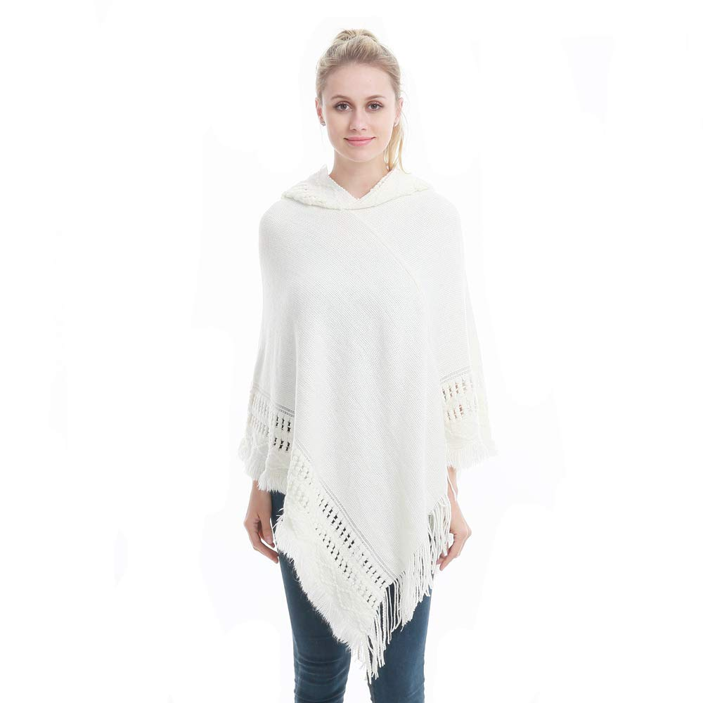 Sefilko Womens Knitted Hooded Poncho Tops Shawl Cape Batwing Blouse With Fringed Sides For Lady (White)