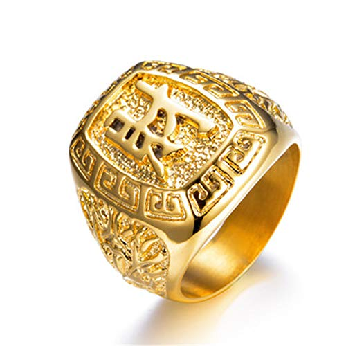Chinese Character Ring - BLINGMC Hip Hop Men Jewelry Stainless-Steel Gold Ring Chinese Character Lucky Rings(9)