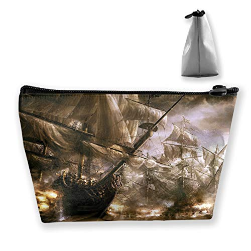 Makeup Bag Trapezoidal Storage Bag Ship Ghost Pirate Portable Cosmetic Bag Ladies Mobile Travel Bag ()