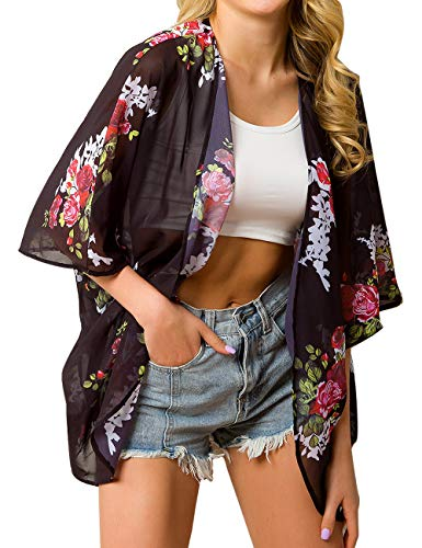 Traleubie Women's Beach Cover Up Floral Print Chiffon Summer Swimwear Kimono Cardigan Color 2 S-M]()