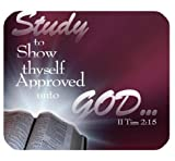 Christian Bible Verse Mouse Pad, Study to Show Thyself Approved unto God.II Tim 2:15, Mousepad Custom Freely Cloth Cover 9.84″ X 7.87″