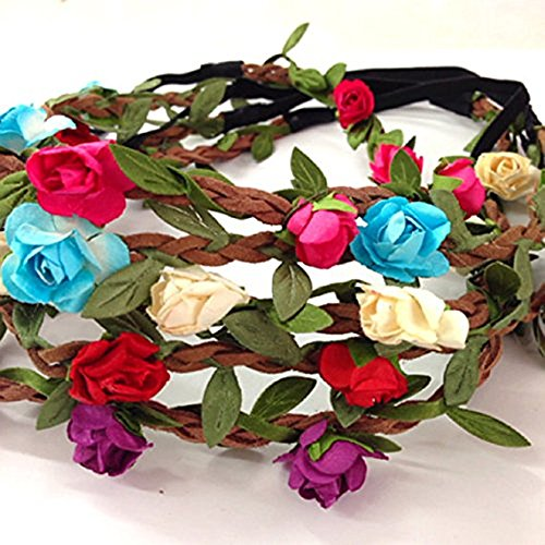 Price comparison product image Adecco LLC Set of 5 Mix Color Mini Flower Crown Headband /Halo/coachella /Edc /Hippie Flower Headband /Garden Party / Wedding