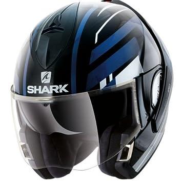 Shark Moto Casco Hark – Evoline 3 Corvus, Negro/Azul, tamaño L