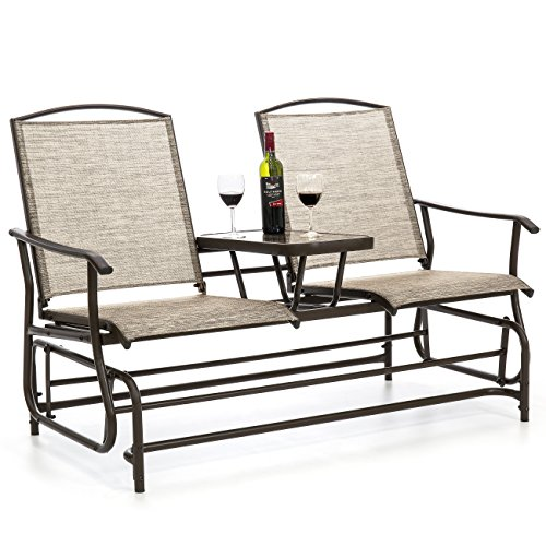 (Best Choice Products 2-Person Outdoor Mesh Fabric Patio Double Glider w/Tempered Glass Attached Table - Tan)