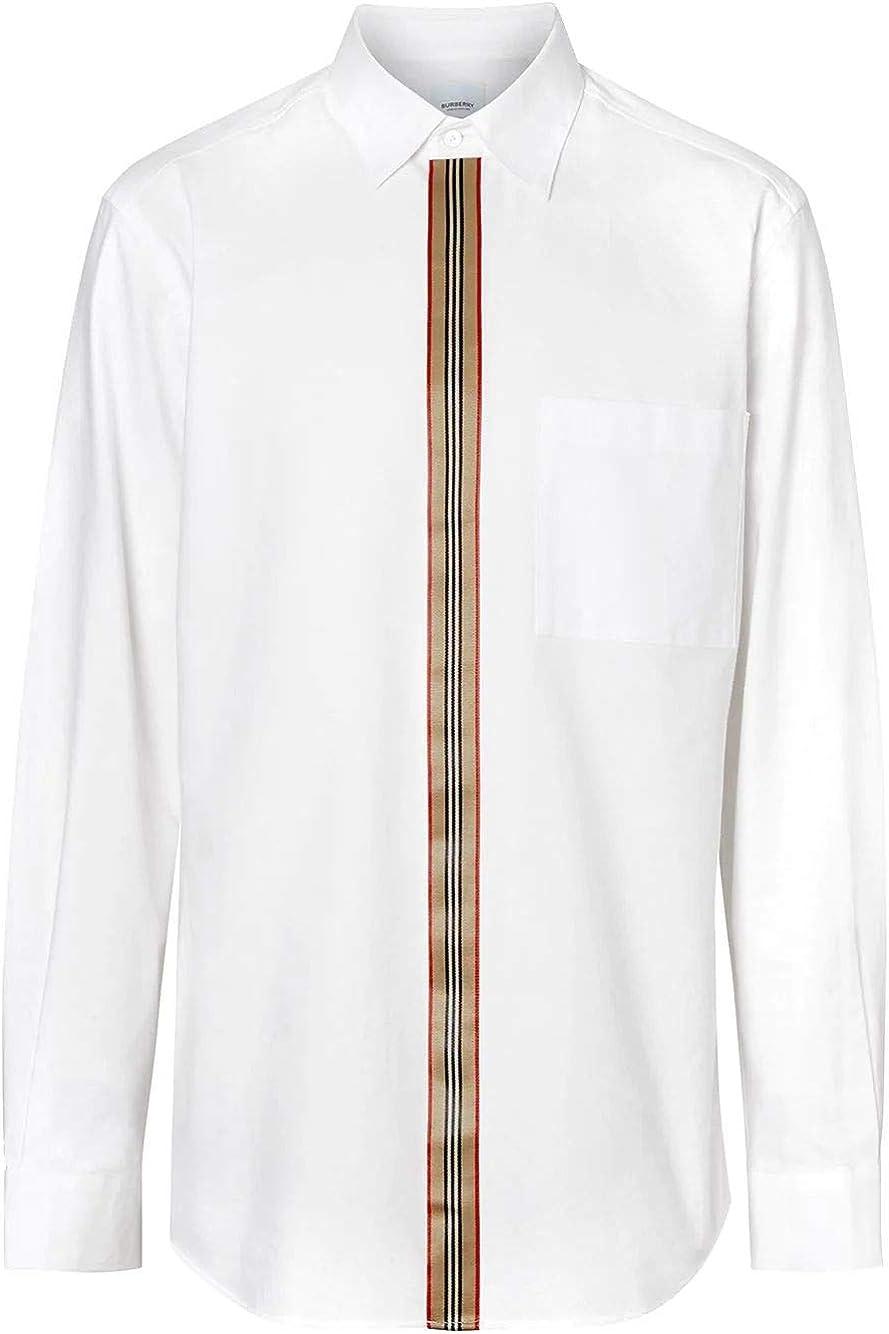 BURBERRY Luxury Fashion Hombre 8015436 Blanco Camisa   Otoño ...