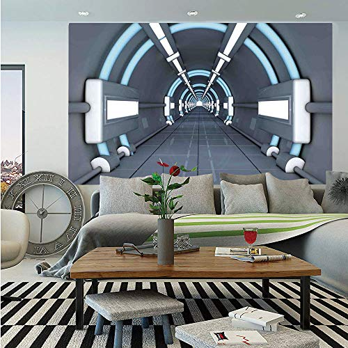 (Outer Space Decor Removable Wall Mural,Fantastic Inner View of Rocket Structure Cyber Hallway Trip to Dark Matter,Self-Adhesive Large Wallpaper for Home Decor 66x96 inches,Gray Blue)
