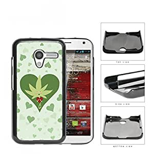 Weed Leaf Valentine And Green Hearts Hard Plastic Snap On Cell Phone Case Motorola Moto X by icecream design