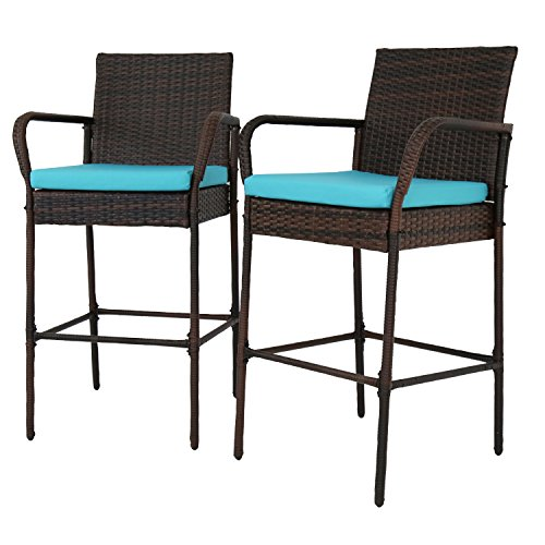 Kinbor Set of 2 Patio Outdoor Wicker Barstool Set Pool Furniture High Chair Brown w/Free Blue Cushions (Stools Style Wicker Bar)