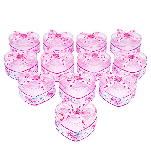 Shower Candy Shaped Baby (QILICHZ Cute Heart Shaped Candy Boxes centerpieces for Wedding,Baby Shower Party with Bow-Knot Ribbons Decoration Gift Packaged 12pcs)
