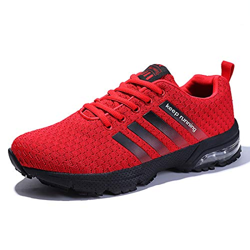 (KRIMUS Mens Womens Air Cushion Sneakers Fashion Running Shoes Lightweight Athletic Tennis Sport Shoes Red)