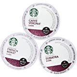 30 Pack - Starbucks Variety Coffee K-Cup Featuring 3 Dark Roast for Keurig Brewers - French Roast, Sumatra, Caffe Verona