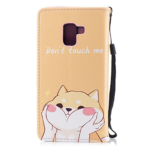 EUWLY Samsung Galaxy A5 2018 Leather Case,Panda Lion Animal Colorful Painting Patterns PU Leather Bookstyle Wallet Case Magnetic Closure with Stand Function [Anti-scratch] [Ultra-slim] PU Leather Wall Shiba Dogs